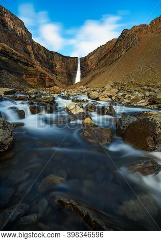 Hengifoss Waterfall In East Iceland. Hengifoss Is The Third Highest Waterfall In Iceland And Is Surr