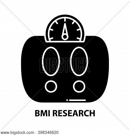 Bmi Research Icon, Black Vector Sign With Editable Strokes, Concept Illustration