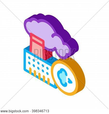 Allergy On Factory Smog Color Icon Vector. Isometric Allergy On Factory Smog Sign. Color Isolated Sy