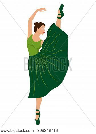 Beautiful Ballerina In Green Dress With Leotard, Hand Drawing Vector, Isolated On The White Backgrou