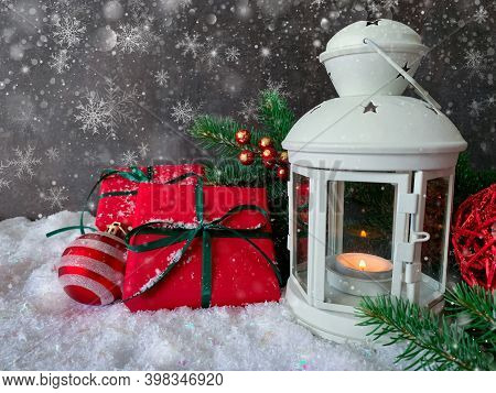 Merry Christmas And Happy New Year. Table Decorated With Christmas Gifts, Holiday Decorations And Wh