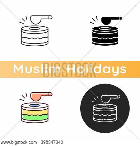 Drums Icon. Ramadan Music Instrument. Waking Up All People Before Dusk To Eat Food. Special Daytime