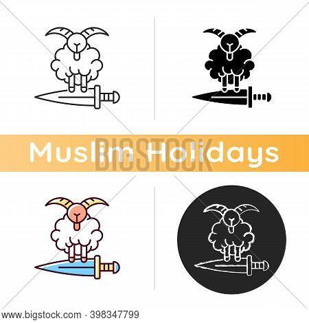 Eid Al Adha Icon. Islamic Holidays Celebrated Worldwide Each Year. Honouring Willingness Of Ibrahim