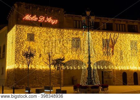 Campos, Spain; December 2020: Facade Of The Town Hall Of The Majorcan Town Of Campos Decorated With