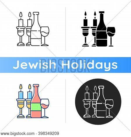 Kosher Wine Icon. Jewish Holidays And Rituals. Passover Seder. Festive Meal. Grape Juice. Sabbath Di