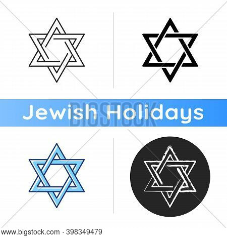 David Star Icon. Judaism Symbol. Central Symbol On Israeli Flag. Magen David. Six-pointed Geometric