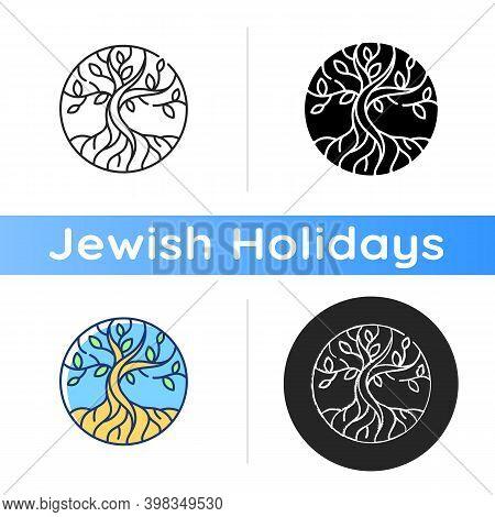 Life Tree Icon. Metaphor For Torah. Earth And Heaven Connection. Hebrew Creation Myth. Eden Garden.