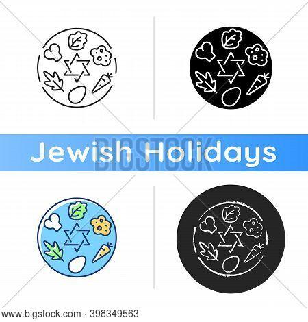 Passover Seder Plate Icon. Food Platter. Symbolic Foods. Six Ritual Items. Shankbone, Karpas, Chazer