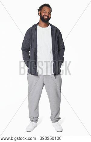 Men's white t-shirt and jacket fashion full body shot