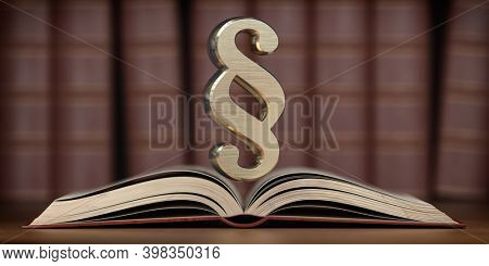 Paragraph sign on the open book. Searching, justice and law concept. 3d illustration