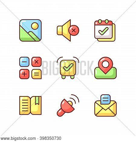 Smartphone Interface Rgb Color Icons Set. Photo Gallery. Silent Mode Setting. Calendar. Alarm Clock.
