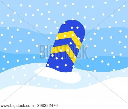 A Striped Snowboard Partially Peeks Out Of The Snow. Equipment For Snowboarding In Snowy Mountains I