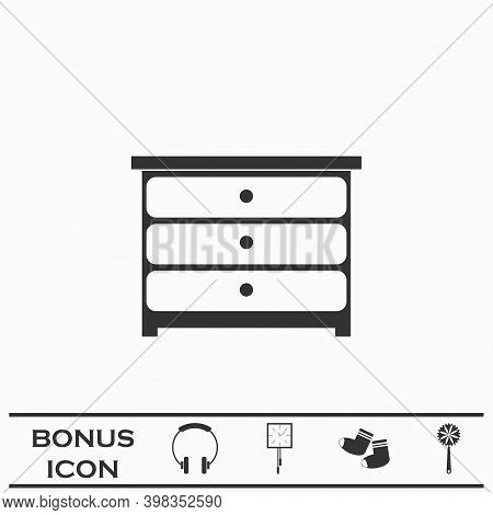 Commode Icon Flat. Black Pictogram On White Background. Vector Illustration Symbol And Bonus Button