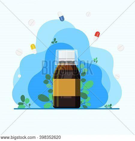 Throat Syrup, Throat Medicine, Disease Treatment Concept. Sore Throat Treatment. Medical Background