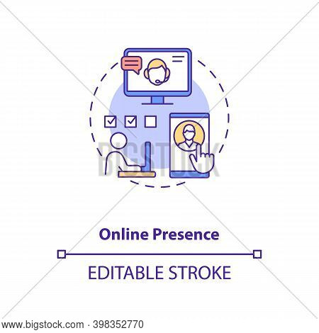 Online Presence Concept Icon. Social Media Manager. Network Specialist. Remote Worker. Virtual Assis