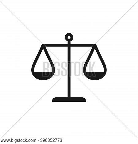 Scale Vector Icon. Law And Justice Libra Symbol. Balance And Compare Logo.