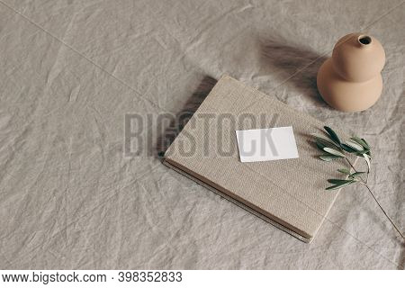 Wedding Stationery Mock-up Scene. Blank Greeting, Business Card And Green Olive Branch On Book. Cera