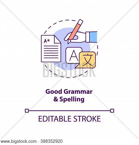 Good Grammar And Spelling Concept Icon. Copywriter Ability. Professional Editor. Virtual Assistant S