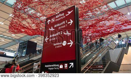 Schönefeld, Germany - November 1, 2020 - Signpost At Berlin Brandenburg Airport (ber), Willy Brand A