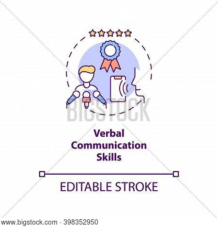 Verbal Communication Skills Concept Icon. Business Networking. Leader Eloquence. Virtual Assistant A