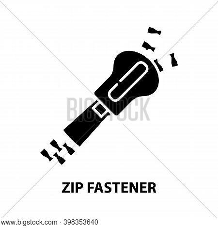 Zip Fastener Icon, Black Vector Sign With Editable Strokes, Concept Illustration