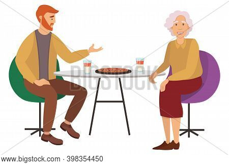 Young Man And Old Woman Are Sitting At Desk And Eating Fastfood In Restaurant. Male And Female Chara