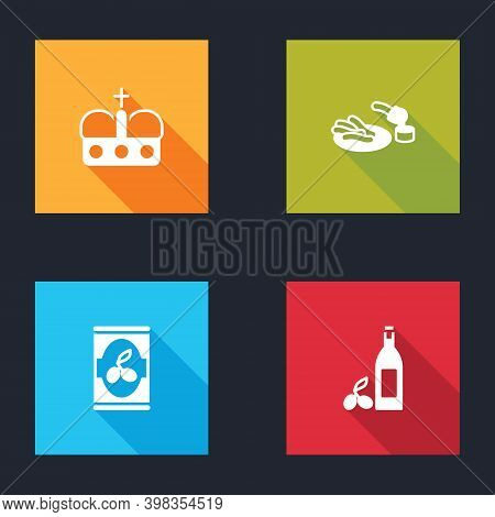 Set Crown Of Spain, Churros And Chocolate, Olives Can And Bottle Olive Oil Icon. Vector