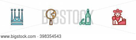 Set Sagrada Familia, Omelette In Frying Pan, Bottle Of Olive Oil And Bullfight, Matador Icon. Vector