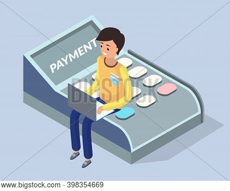 Online Shopping Concept. Young Man With Laptop Sitting On Payment Terminal For Retail Sale Service,