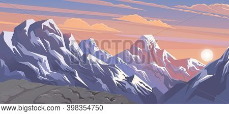 Mountains Landscape, Abstract Lilac Sunset Panoramic View, Vector Illustration. Snow Capped Mountain
