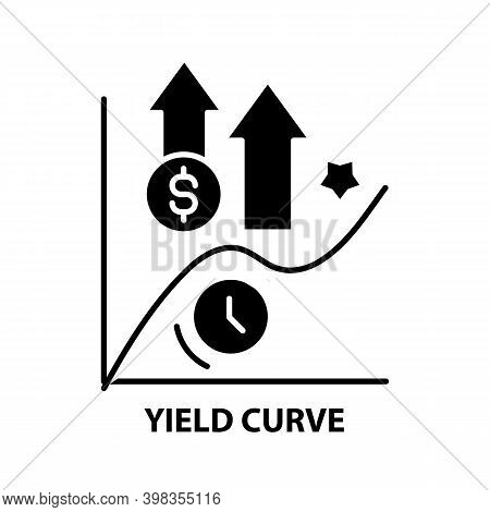 Yield Curve Icon, Black Vector Sign With Editable Strokes, Concept Illustration