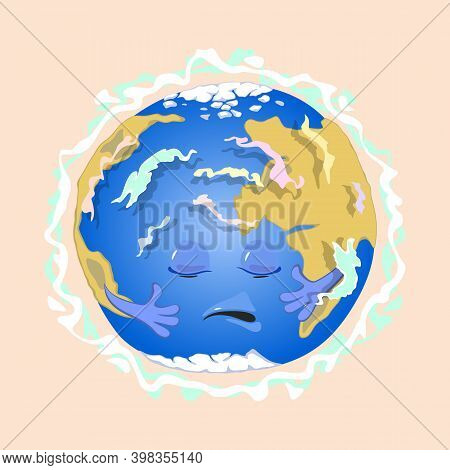 Sad Planet Earth With Eyes, Mouth And Hands Suffer From Magnetic Field Distribution. Vector Physics