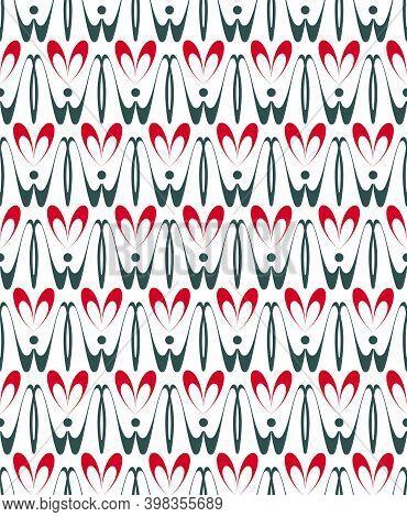 Love Ornamental Geometric Seamless Pattern. Hand Drawn Graphic Design, Nature Folklore Flourish, Hea