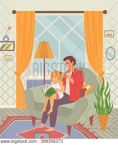 Father Brushing The Hair Of His Daughter. Happy Family Child Care Concept. Girl Reading A Book While
