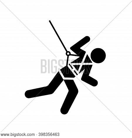 Body Harness And Lifeline Required Black Icon, Vector Illustration, Isolate On White Background Labe