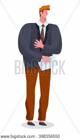 Businessman Standing At Full Height Holding Paper Document In His Hands Vector Illustration Isolated
