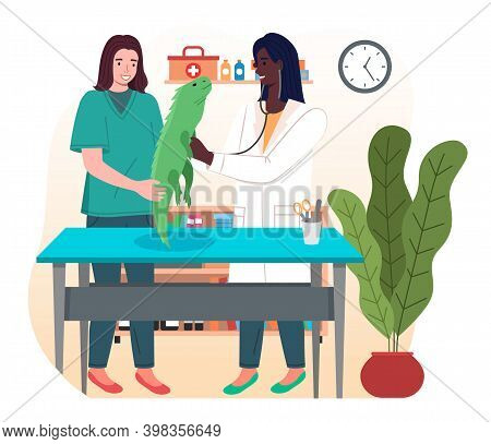 Doctor Women With Iguana In The Medical Office. Veterinary Care Illustration. Veterinarian Wooman Ho