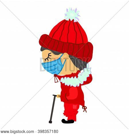 Flat Sad Old Blind Man In Medical Mask Stands In Winter Clothes With Fur. A Guy In A Knitted Red Hat