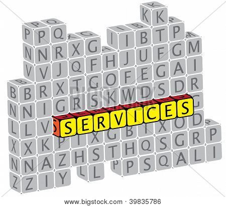 Illustration Of Word Services Using Alphabet(text) Cubes. The Graphic Can Represent Concepts Like He