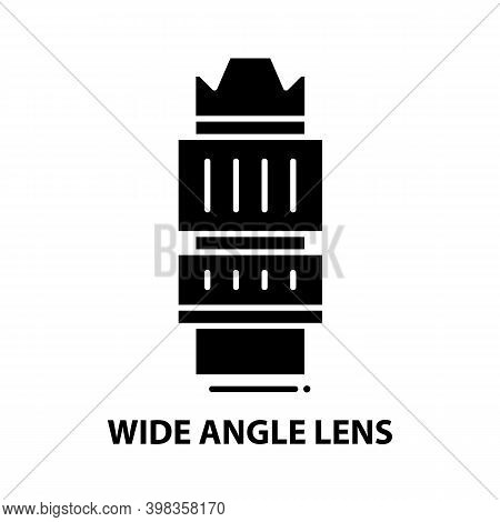 Wide Angle Lens Icon, Black Vector Sign With Editable Strokes, Concept Illustration