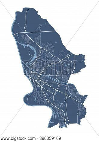 Mannheim Map. Detailed Vector Map Of Mannheim City Administrative Area. Cityscape Poster Metropolita