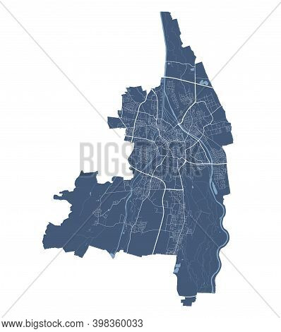 Augsburg Map. Detailed Vector Map Of Augsburg City Administrative Area. Cityscape Poster Metropolita