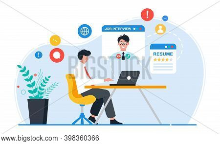 Online Job Interview Concept. Man Is Talking To His Future Employee.