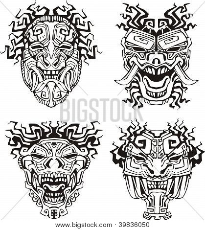 Aztec Monster Totem Masks