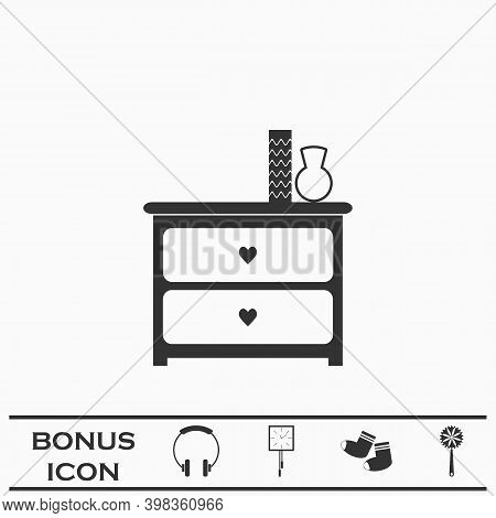 Dresser With Vases Icon Flat. Black Pictogram On White Background. Vector Illustration Symbol And Bo