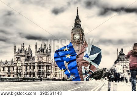 Lord Big Ben Dressed In A Flag Of England And Eu, Deal Or Not Deal, United Kingdom