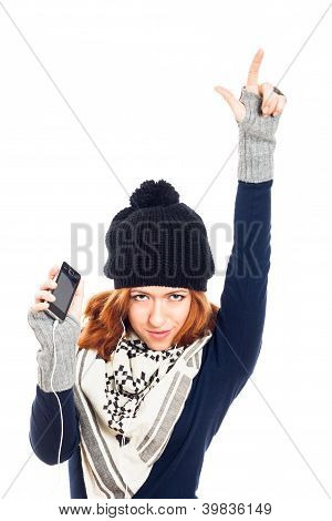 Winter Woman With Smartphone Pointing Up