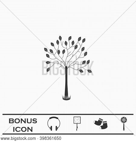 Decorative Tree Icon Flat. Black Pictogram On White Background. Vector Illustration Symbol And Bonus