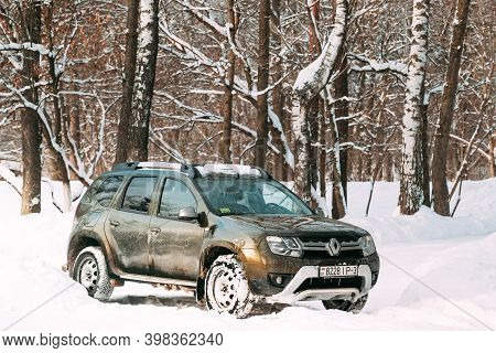 Gomel, Belarus - January 10, 2019: Grungy And Frozen Renault Duster Or Dacia Duster Suv Parked In Sn