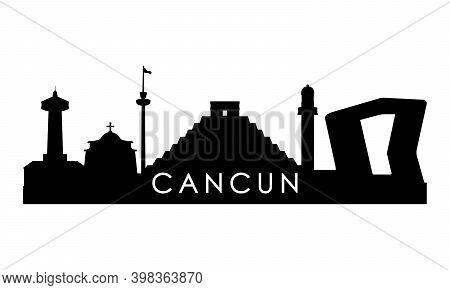 Cancun Skyline Silhouette. Black Cancun City Design Isolated On White Background.